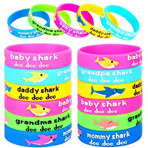 25pcs Shark Party Favors Rubber Bracelets,Shark Birthday Party Supplies Silicone Wristbands Ideal for Baby Shower Kids Shark Themed Birthday Decoration