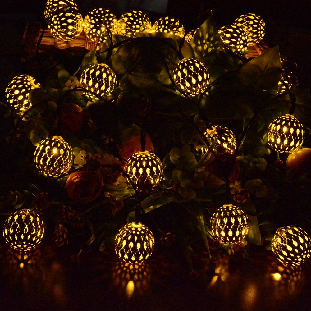 Dephen Solar Globe String Lights Moroccan Ball String Lights Warm
