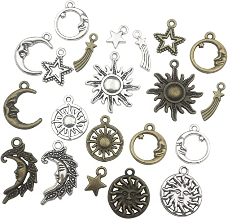 Mixed Bronze Charms Moon Star Sun Pendants for DIY Jewelry Making Accessaries