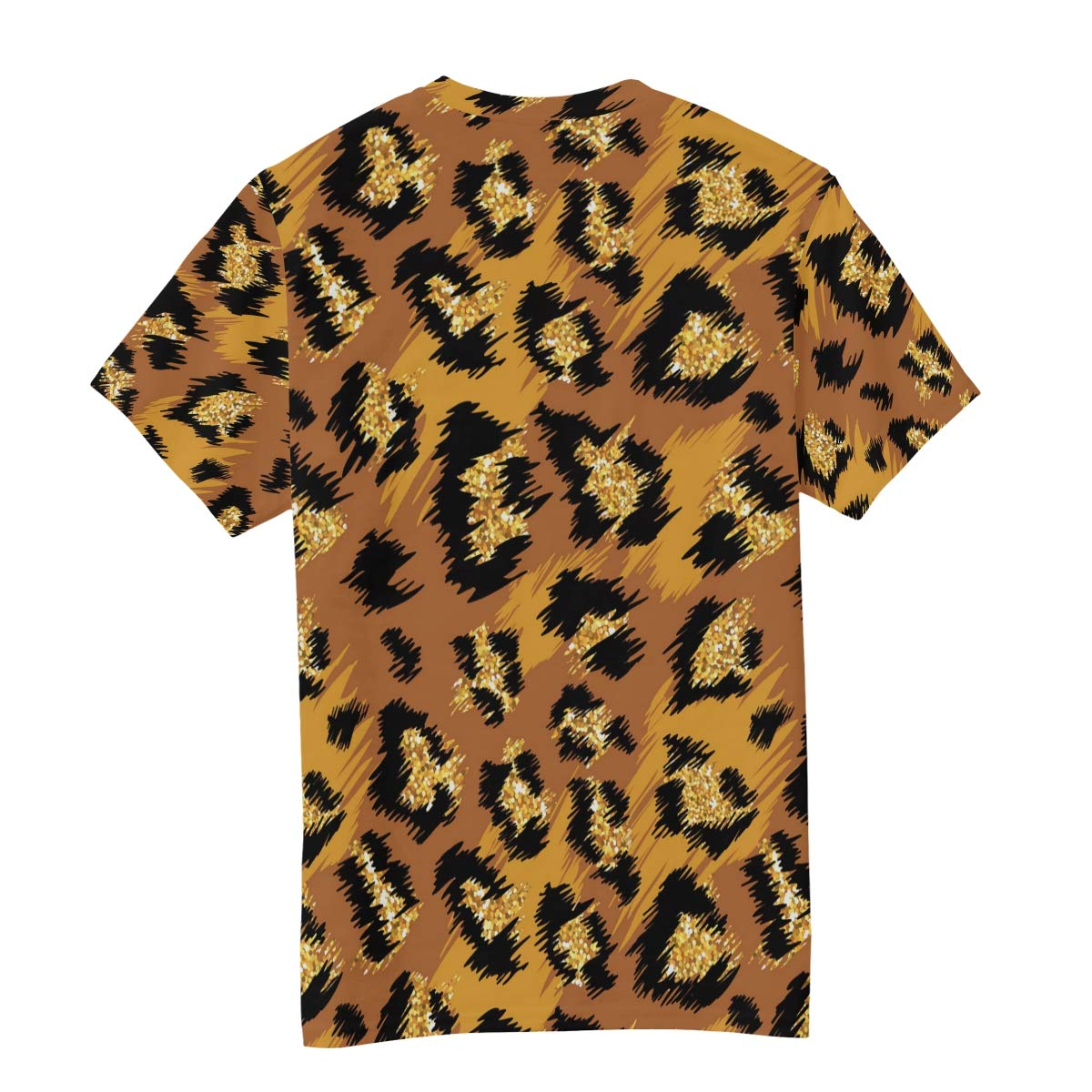Horatiood Huberyyd Bright Gold Leopard Print Mens T Shirts Graphic Funny Body Print Short T-Shirt Unisex Pullover Blouse