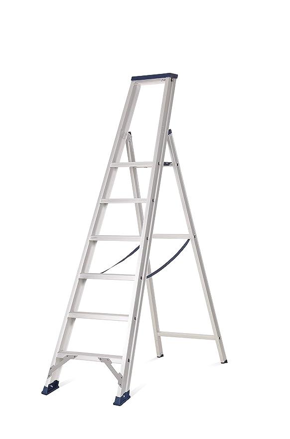 Escalera de tijera con plataforma, fabricada en aluminio de la mayor calidad, según UNE-EN 131 (5 peld. + plat.): Amazon.es: Bricolaje y herramientas