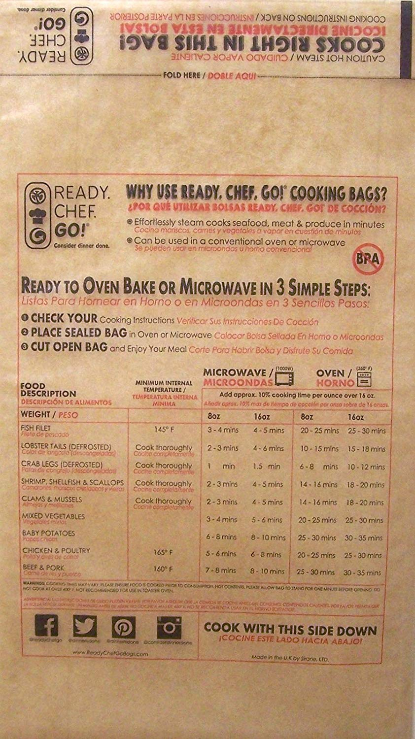 Ready, Chef, Go! Seal and Cook Glassine Cooking Bags Pkg of 10 BPA Free Large