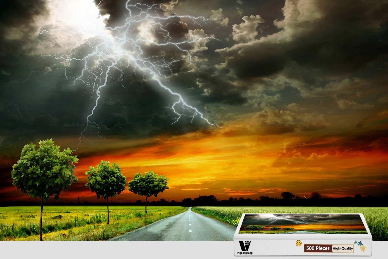 優れた品質 PigBangbang、20.6 X 空の雲 15.1インチ、手作り知育ゲーム プレミアム木製 B07FLJVSG9 DIY ジグソーグルー 素敵な絵画 素敵な絵画 - 道路 空の雲 稲妻 - 300ピース ジグソーパズル B07FLJVSG9, SOAR(そあ)ショップ:bfdf5fdd --- 4x4.lt