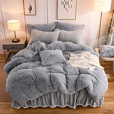 LIFEREVO Luxury Velvet Dust Ruffle Bed Skirt Diamond Quilted Bedspread 3 Sided Coverage 18-inch Drop with Pompoms Fringe Cream, King