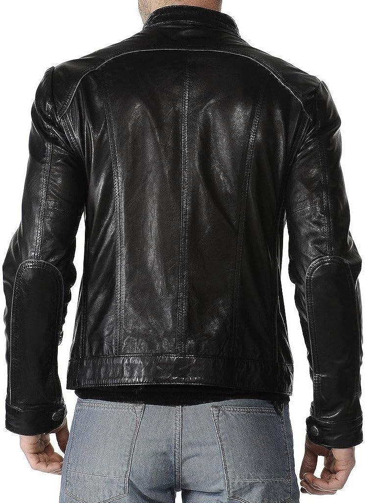 New Mens Leather Jacket Slim Fit Biker Motorcycle Genuine Cow Leather Jacket LFC572