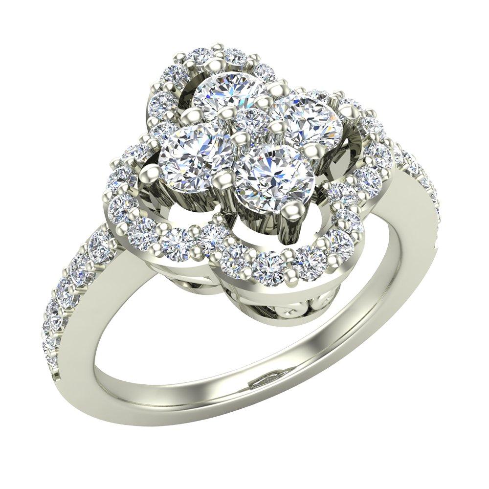1.00 ctw Diamond Loop Ring Cluster 14K White Gold (Ring Size 8.5)