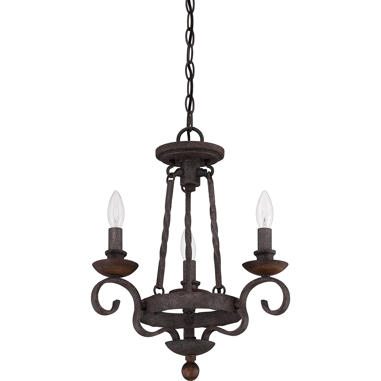Quoizel NBE5303RK Noble 3-Light Chandelier, Rustic Black