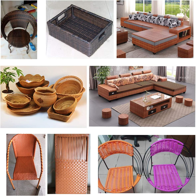 Queenbox 8mm x 10m Gradient Flat Rattan Weaving Chair Table Orange Storage Basket Synthetic Rattan Repair Knit Material Plastic Rattan for DIY Home Furniture