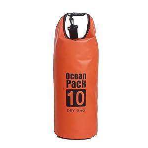 防水 ドライバッグ10L 15L 20L プールバッグ 防災バッグ 防水バッグ ビーチバッグ ドラム型 アウトドア dry bag 耐用年数2年間 (20L, オレンジ)