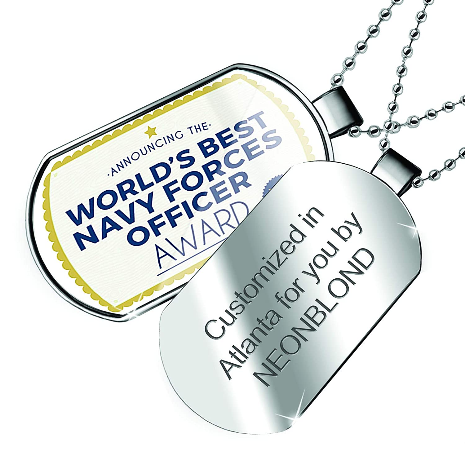 NEONBLOND Personalized Name Engraved Worlds Best Navy Forces Officer Certificate Award Dogtag Necklace