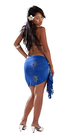 3c24f25545 1 World Sarongs Womens Sparkles Half Swimsuit Cover-Up Sarong in Blue