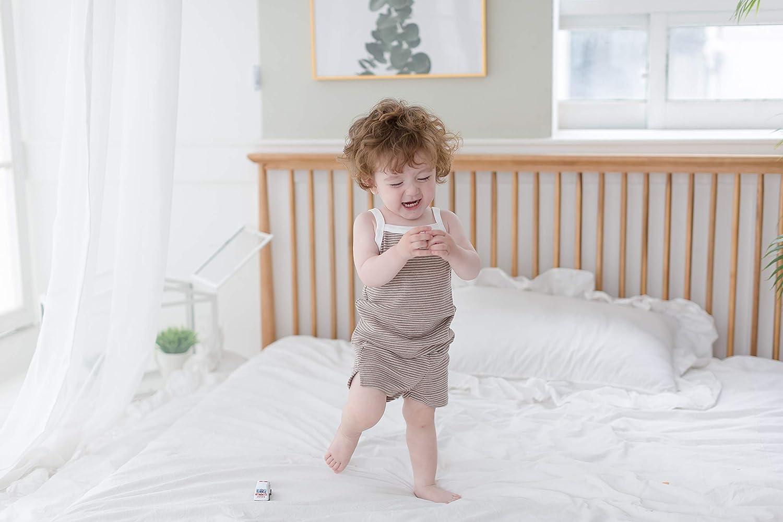 AVAUMA Newborn Baby Little Boy Girl Stripe Sleeveless Pajamas Summer Short Sets Pjs Kids Clothes