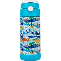 Snug Flask for Kids - Vacuum Insulated Water Bottle with Straw (Beach, 12oz)
