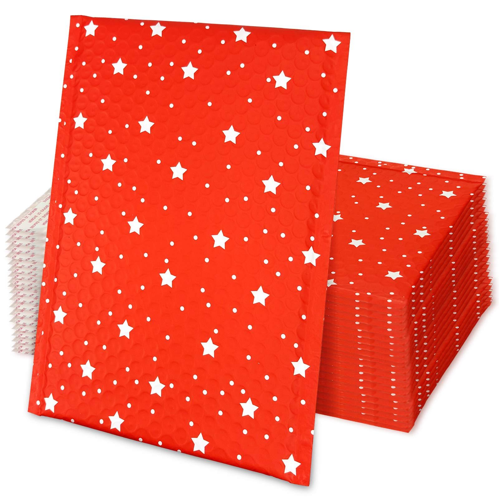 25 Sobres de Correo Acolchados- Rojo con Estrellas (15x25cm)