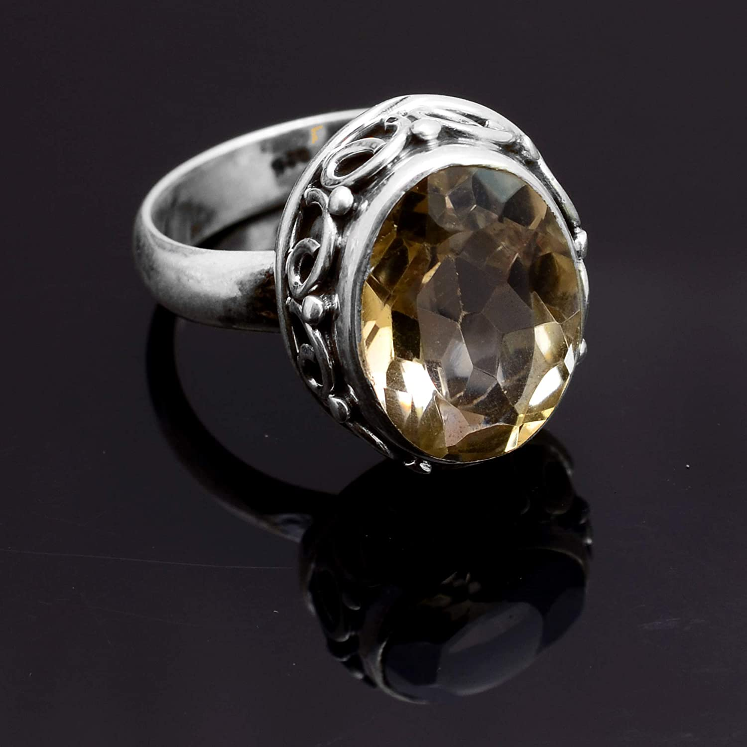 Silver Palace 925 Sterling Silver Natural Citrine Ring for Womens and Girls