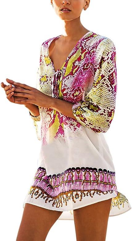 half off b1862 5c66e PassMe Copricostume Mare Donna Chiffon Stampato Floreale Camicetta Kimono  Retro Costume da Bagno Vestito per Bikini Spiaggia Beachwear Tops