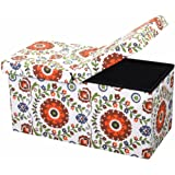 """Otto & Ben 30"""" Storage Ottoman - Folding Toy Box Chest with SMART LIFT Top, Mid Century Upholstered Ottomans Bench Foot Rest, Retro Floral"""