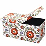 """Amazon Price History for:Otto & Ben 30"""" Storage Ottoman with SMART LIFT Top, Upholstered Folding Foot Rest Stools Table Ottomans Bench, Retro Floral"""