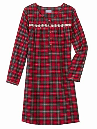 Womens Red Black Plaid Flannel Nightgown Night Gown Sleep Shirt