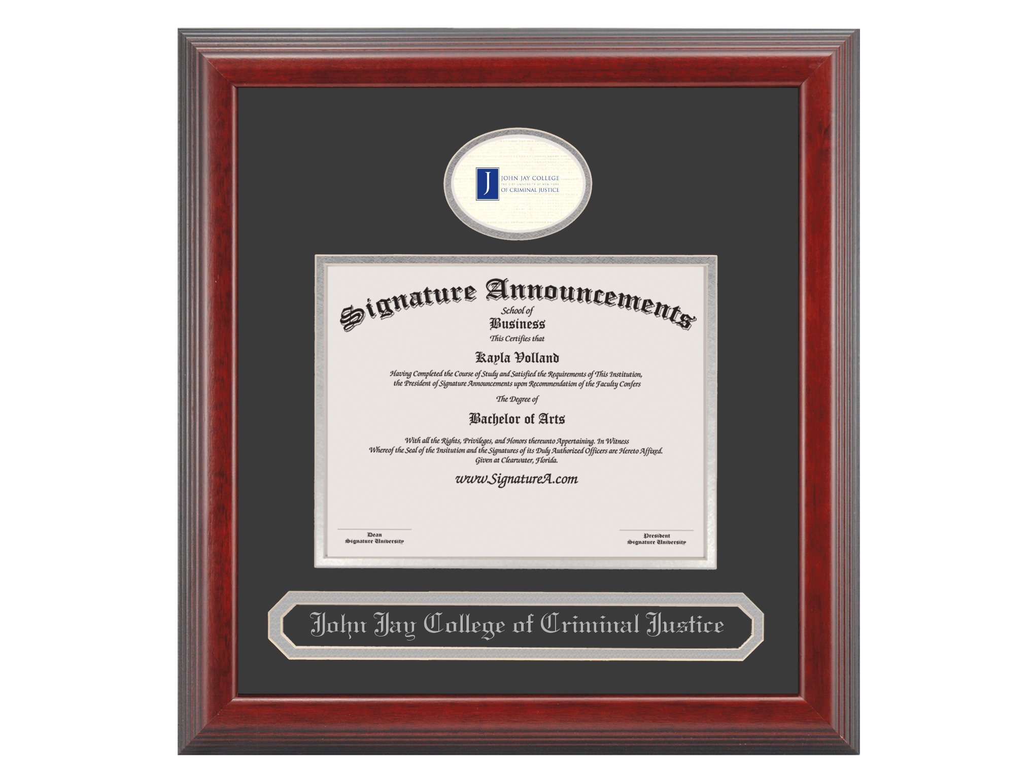 Signature Announcements John-Jay-College-of-Criminal-Justice Graduate Or Doctorate Sculpted Foil Seal & Name Diploma Frame, 20'' x 20'', Cherry