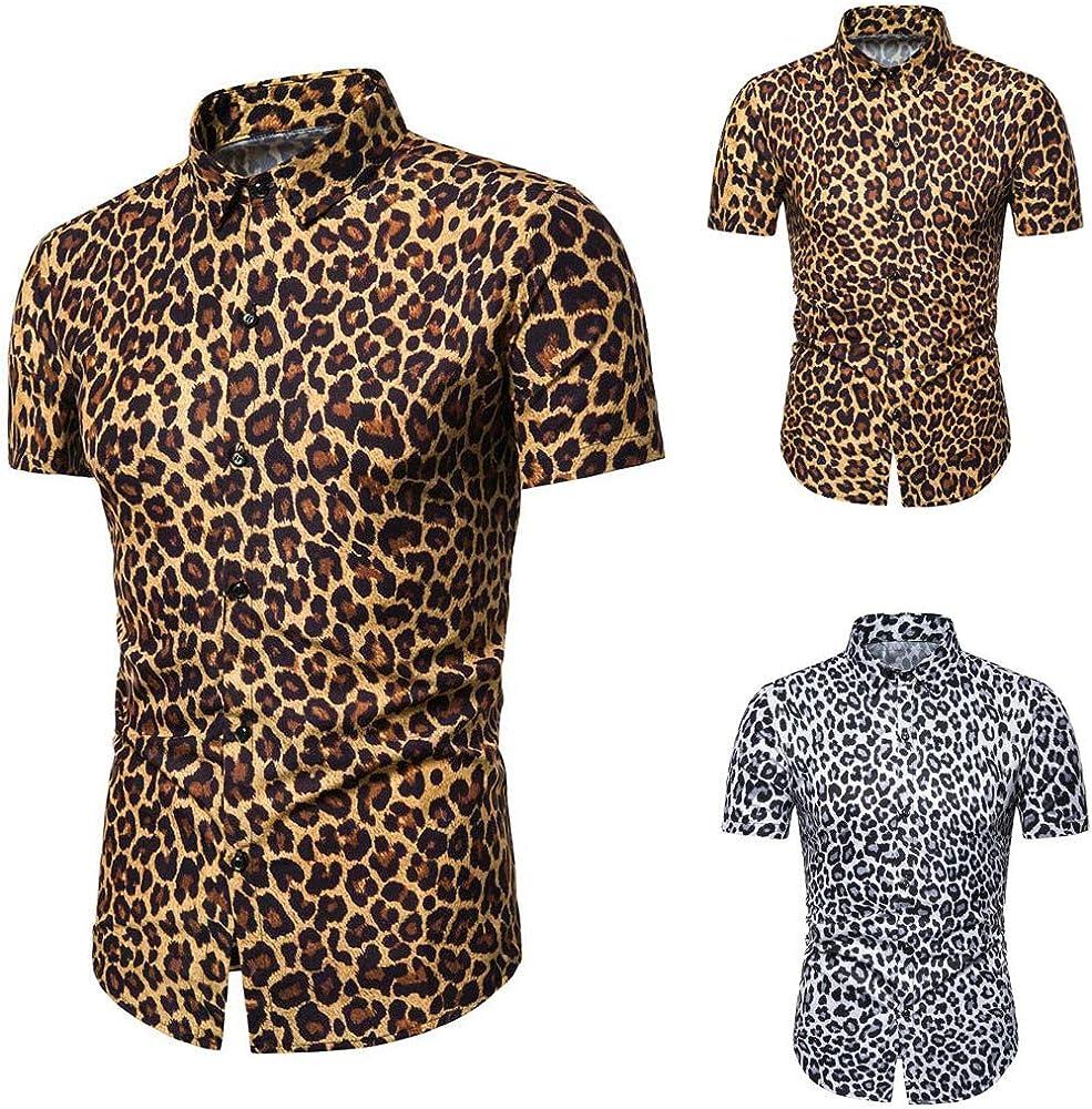 Firally Camisa de hombre, verano, moda, hombre, verano, informal, camisa, estampado de leopardo, manga corta, camisas, camisas, camisas, camisas y camisas casuales amarillo XL: Amazon.es: Ropa y accesorios