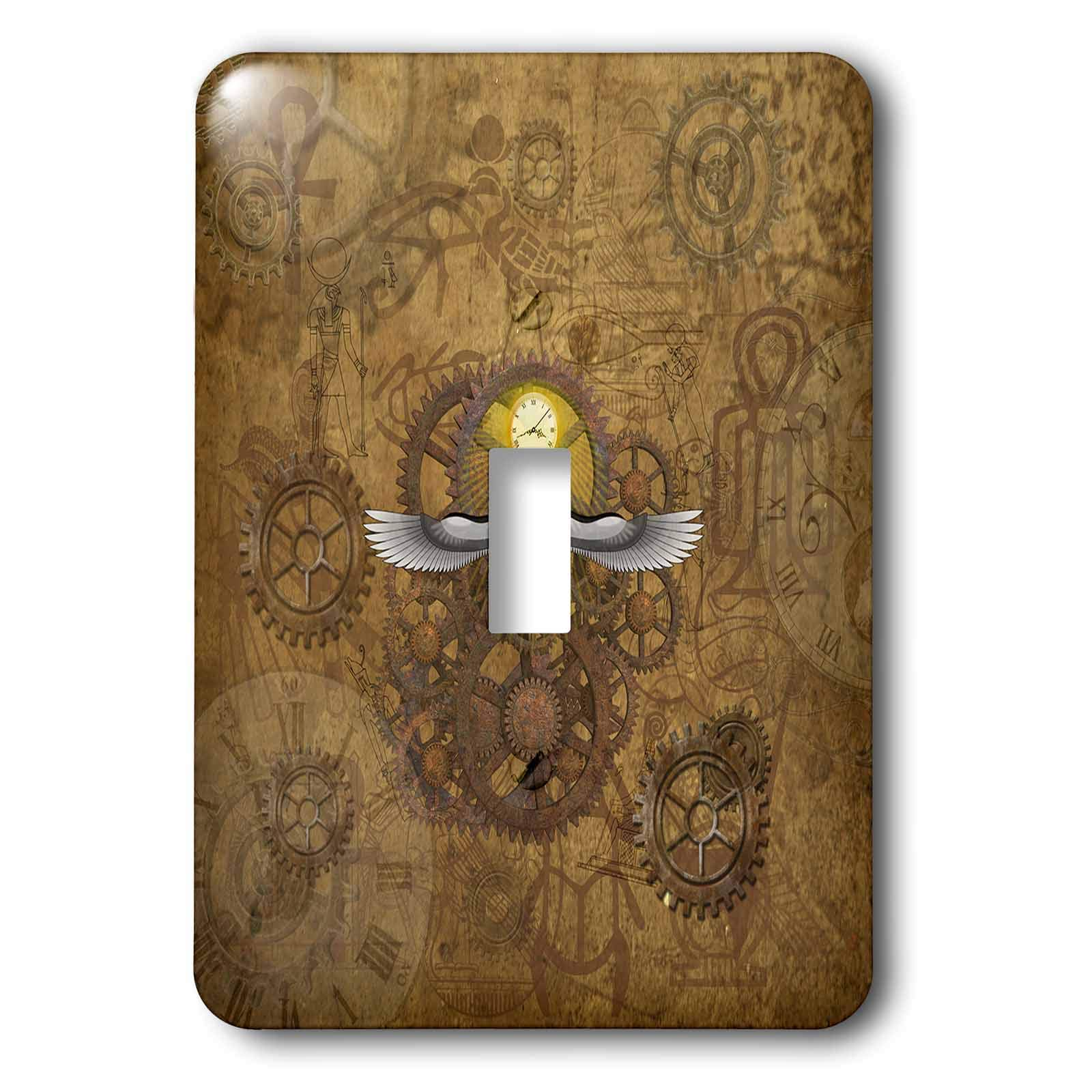 3dRose Lucia - Steampunk - Steampunk Scarab With Clock and Anciant Egyptian Drawings - Light Switch Covers - single toggle switch (lsp_289786_1)