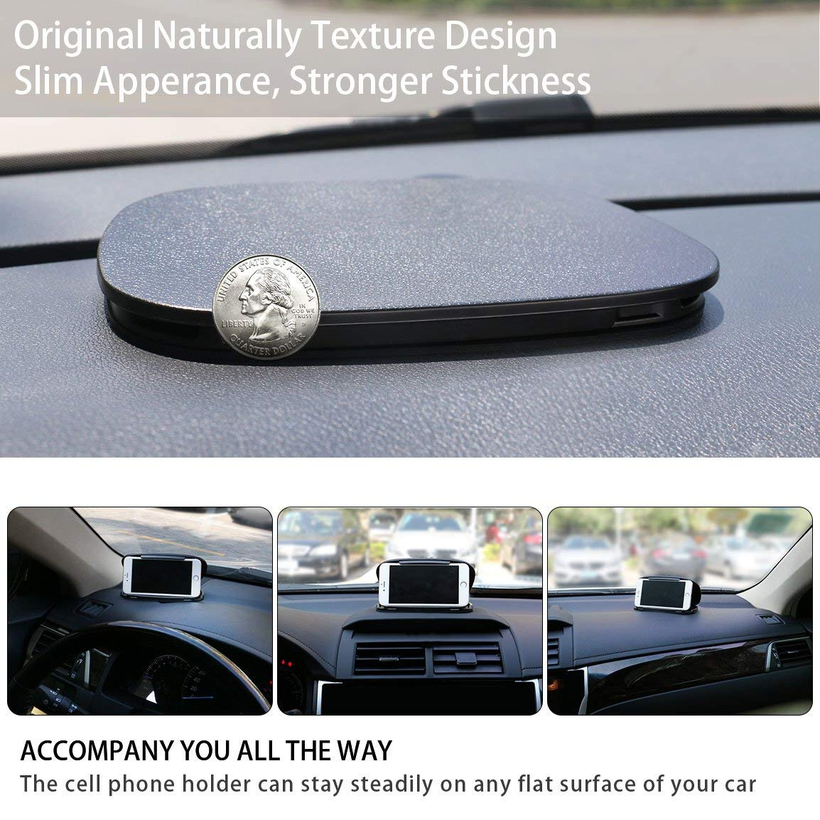 Reusable Silicone Pad Base Slim Dashboard Car Phone Mount for iPhone X 8 Plus 7 6s Samsung Galaxy S9 S8 Edge Note 8 LG and Other Garmin GPS GPS Mounts for car Bosynoy Cell Phone Holder for Car