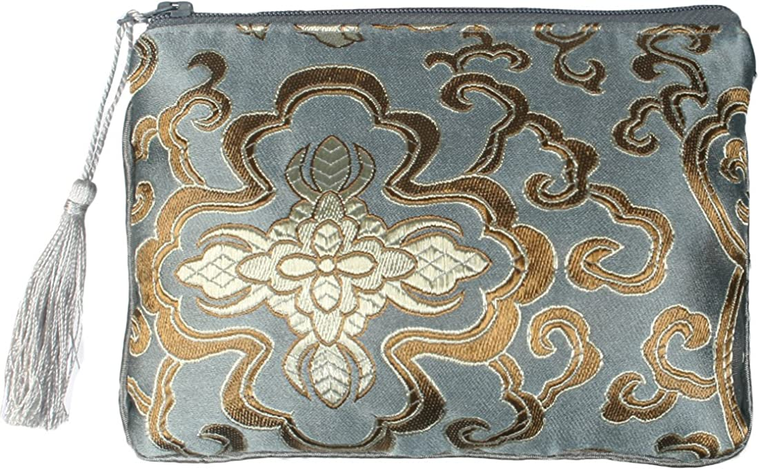 Set 2 Kilofly Chinese Silk Brocade Padded Tassel Zipper Jewelry Pouch Bag