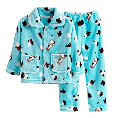 55f0ca56e897 Amazon.com  Smibra Kids Milk Bottles Pattern Comfy 2-Pieces Pajamas Set for  Winter  Clothing