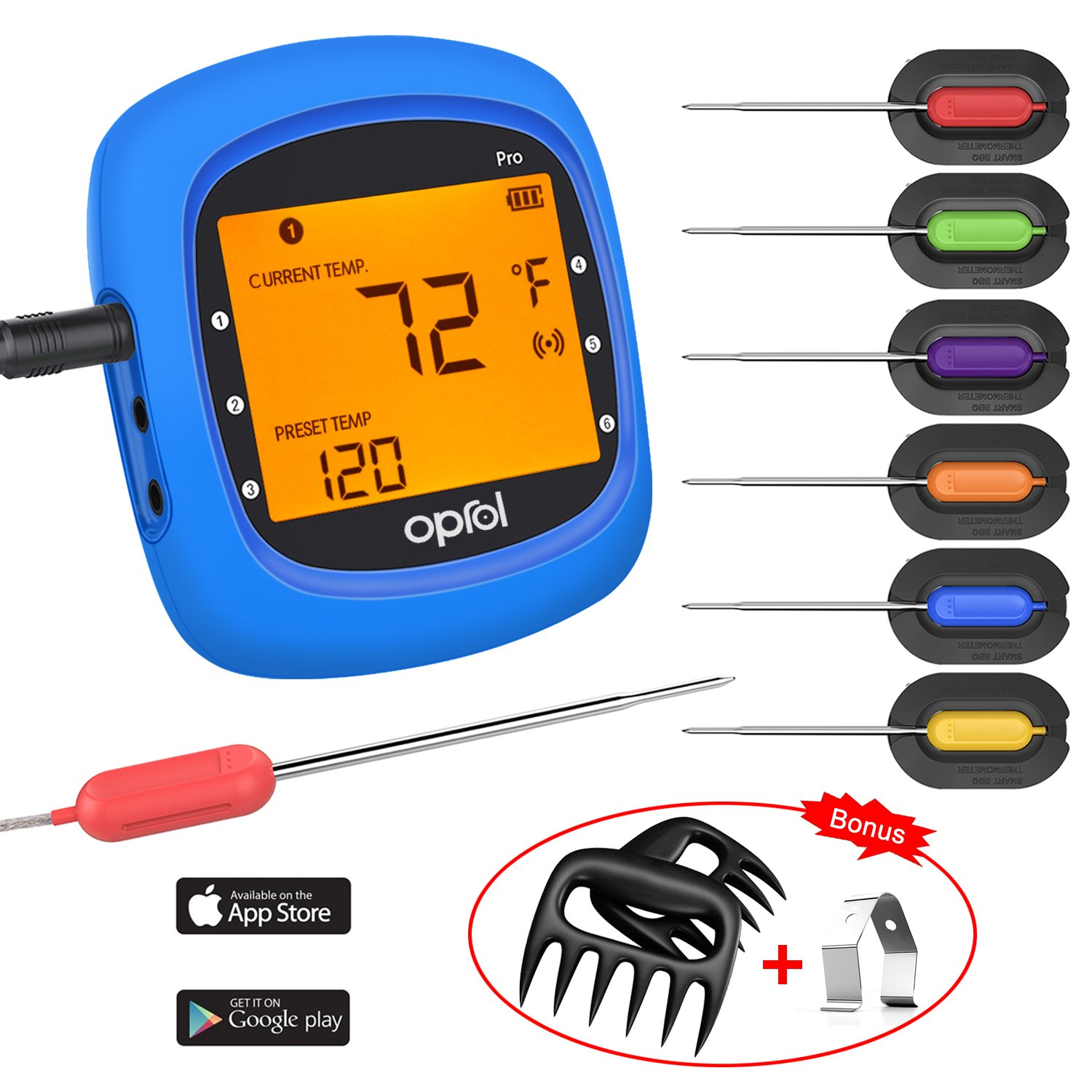 Bluetooth Meat Thermometer, Wireless Digital BBQ Thermometer for Grilling Smart with 6 Stainless Steel Probes Remoted Monitor for Cooking Smoker Kitchen Oven, Support iOS & Android by Oprol