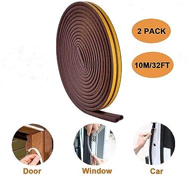 Autoadhesivo burlete de goma de sellado de espuma puerta y ventana para desmontar EPDM Peel & stick aislamiento acústico de goma tiempo para desmontar para grietas y lagunas Pack de 2, marrón: