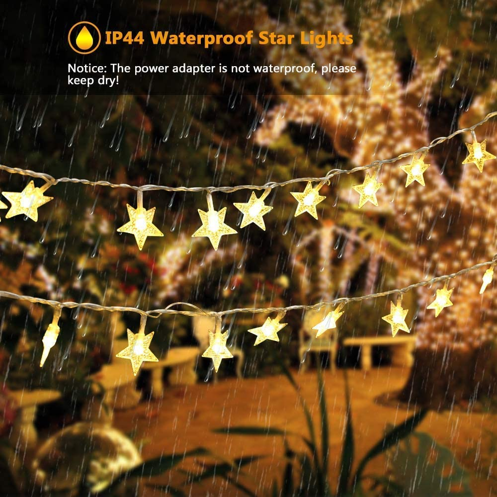 DooVee Star String Lights Holiday Warm White 42.32ft 100 LEDs 8 Modes Twinkle Lights Plug in Fairy String Lights for Wedding Indoor Decorations Bedroom Party