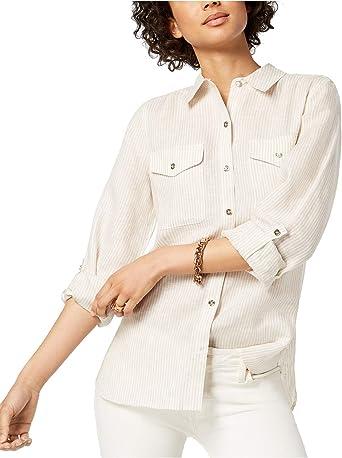 Tommy Hilfiger - Camisa de Lino para Mujer - - X-Large: Amazon.es: Ropa y accesorios