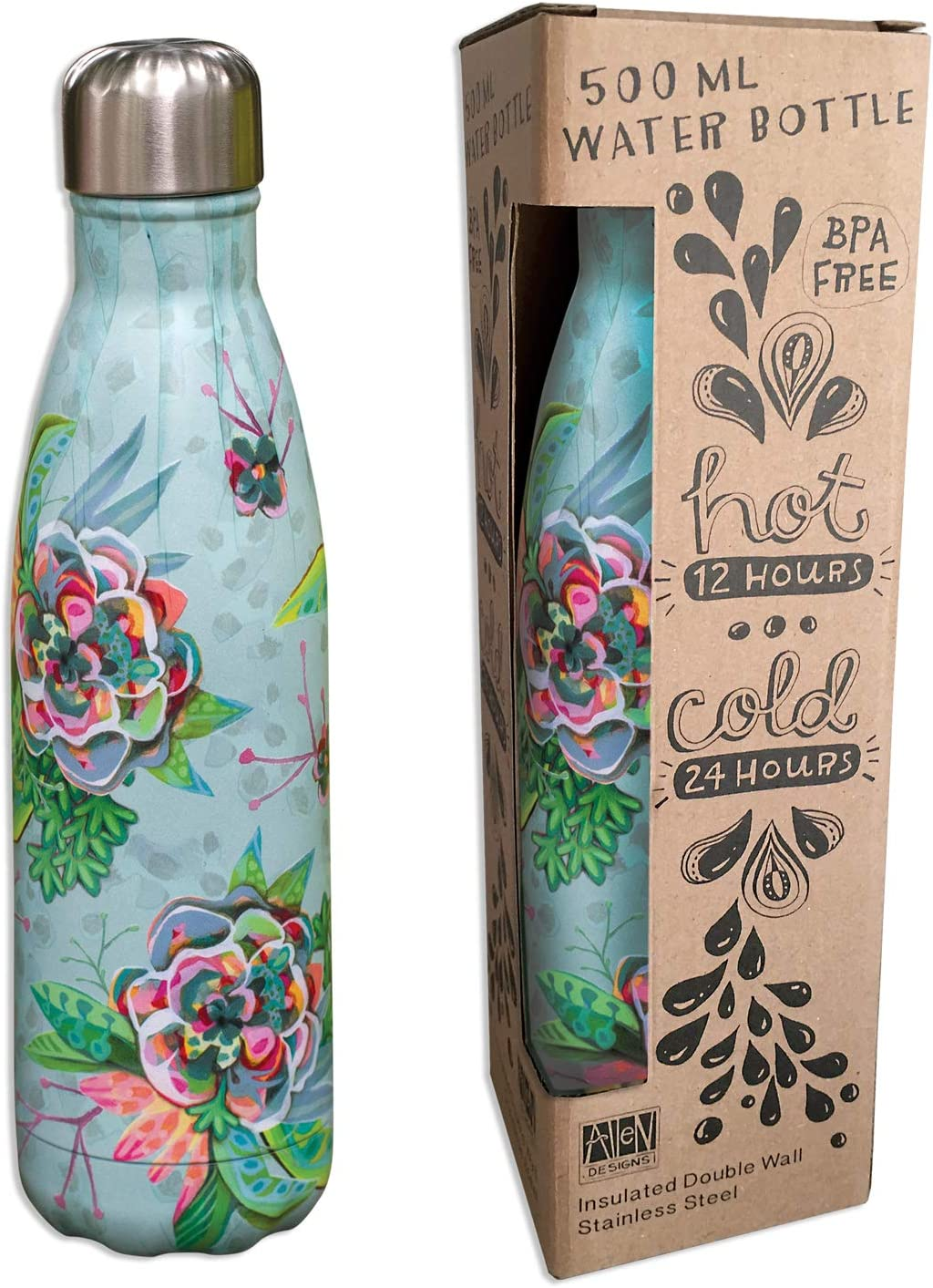 Allen Designs Stainless Steel Water Bottle 16.9 Ounces 10.25 Inches x 2.75 Inches