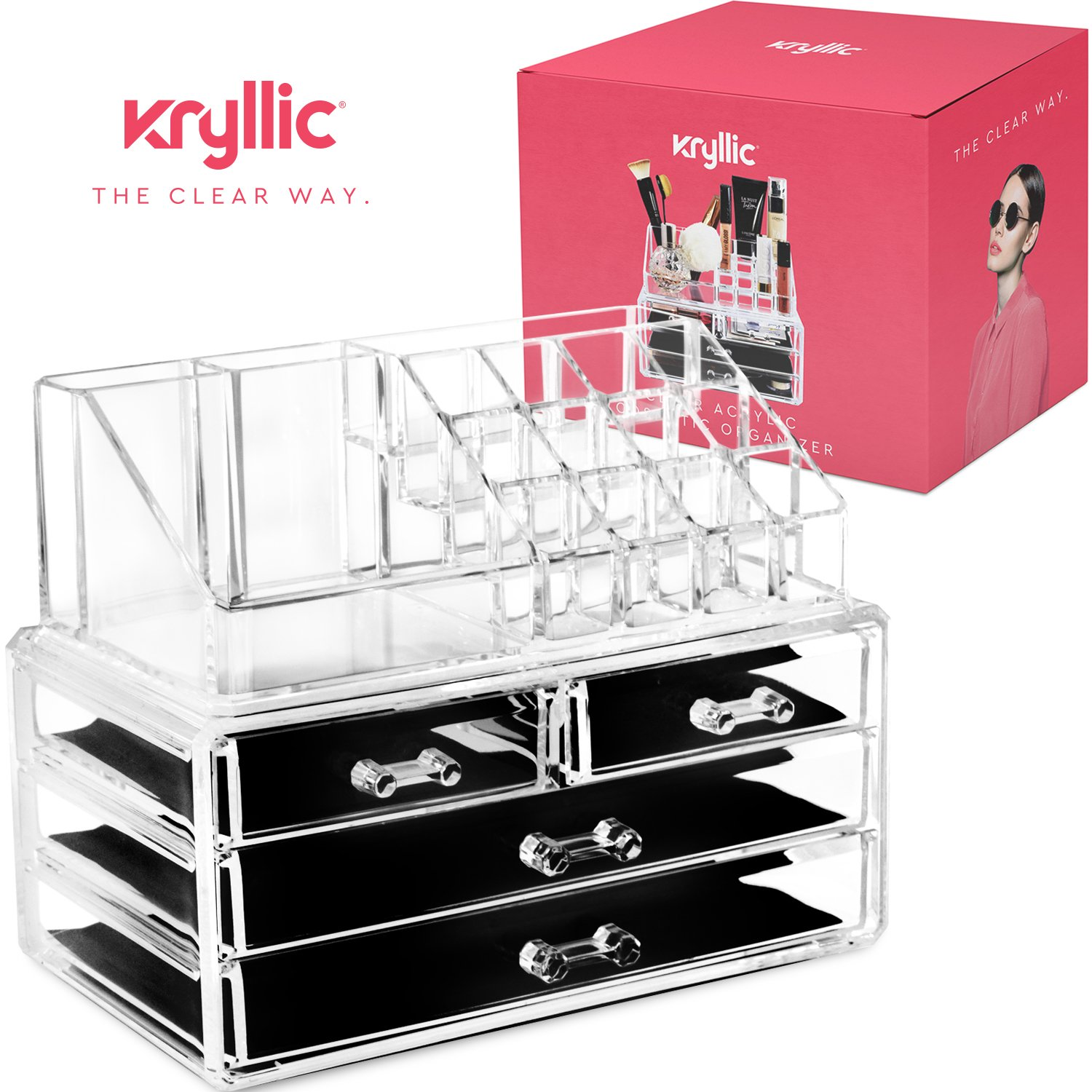 Acrylic Makeup jewelry cosmetic organizer - Set of 4 Extra Deep Drawers That Open & close Easily With Seprate Stackable lipstick & nailpolish Holder &made With the Highest quality Strong Thick Acrylic