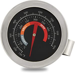 """2"""" BBQ Grill Temperature Gauge for Big Green Egg,Grill Dome, Char Griller Kamado Smoker Stainless Steel 150-900°F Cooking Kamado Replacement Thermometer with Waterproof and No-Fog Glass Lens (1)"""