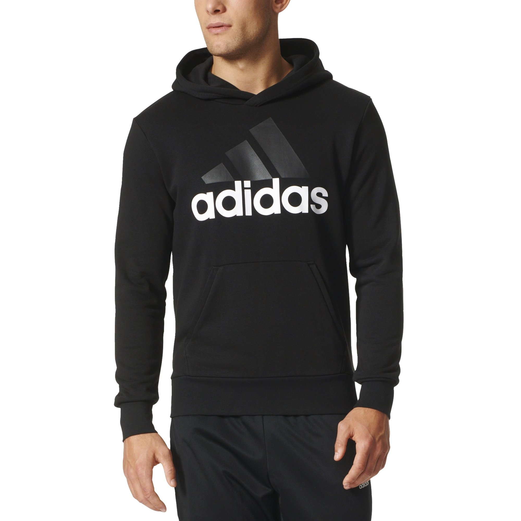 adidas Men's Essential Linear Logo Pullover Hoodie, Black/White, X-Large by adidas