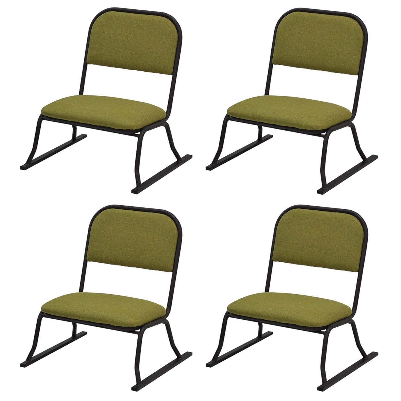 エイアイエス (AIS) 座椅子 グリーン 53×52×58cm 楽座椅子 ロータイプ 4脚入 B07J5B43ZQ