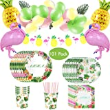 Amycute 101 Pcs Hawaiian Party Supplies,Hawaiian Disposable Tableware Set,Plates Napkins Cups Straws Flamingo Pineapple Balloons,Baby Showers Birthday Party Decorations Supplies