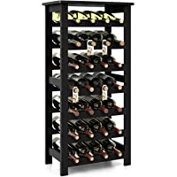 Homfa Bamboo Wine Rack Free Standing Wine Storage Rack Wine Holder Display Shelves Standing Table, Wobble Free Home Kitchen