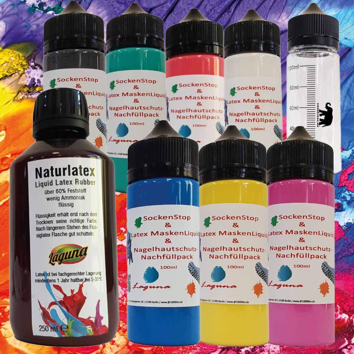 Látex líquido Calcetines Stop 7 x 100 ml coloreado látex + 250 ml Transparente=950 ml Liquid Leche de látex, natural, azul, verde, amarillo, rojo, rosa, ...