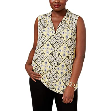 7bc5ff6876b Charter Club Plus Size Printed V-Neck Top in Horizon Yellow Combo at ...