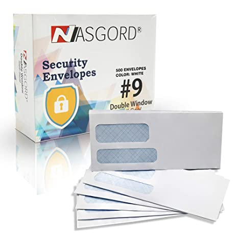 amazon com nasgord 9 security envelopes 500 count tinted double