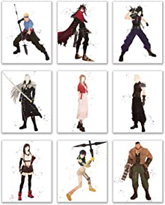 Watercolor Final Fantasy VII (7) Remake Prints - Set of 9 (8x10 Inches) Cloud Strife - Barret Wallace - Aerith Gainsborough - Tifa Lockhart - CID - Yuffie - Vincent Valentine - Zack Fair - Sephiroth