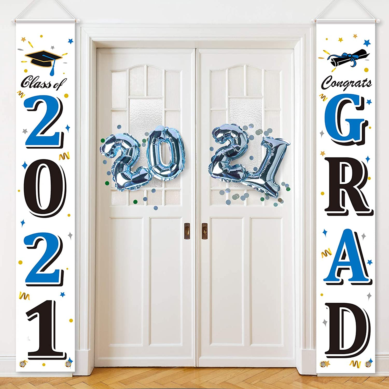 2021 Graduation Party Decorations Graduation Porch Sign 2021 Congrats Graduation Banner Hanging Flags Sign 2021 Grad Party Decors for Outdoor Indoor Home Front Door (White with Blue Black Letters)