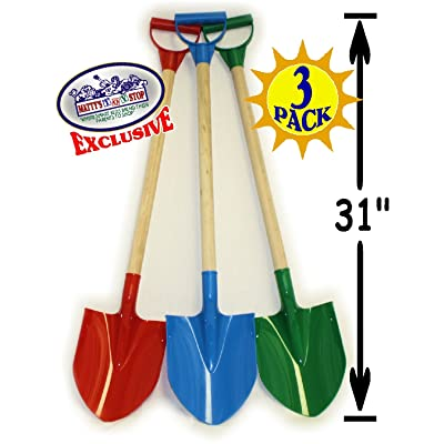 "Matty's Toy Stop 31"" Heavy Duty Wooden Kids Sand Shovels with Plastic Spade & Handle (Red, Blue & Green) Complete Gift Set Bundle - 3 Pack: Toys & Games"