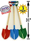 "Matty's Toy Stop 31"" Heavy Duty Wooden Kids Sand Shovels with Plastic Spade & Handle (Red, Blue & Green) Complete Gift Set Bundle - 3 Pack"