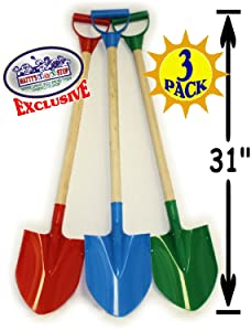 """Matty's Toy Stop 31"""" Heavy Duty Wooden Kids Sand Shovels with Plastic Spade & Handle (Red, Blue & Green) Complete Gift Set Bundle - 3 Pack"""