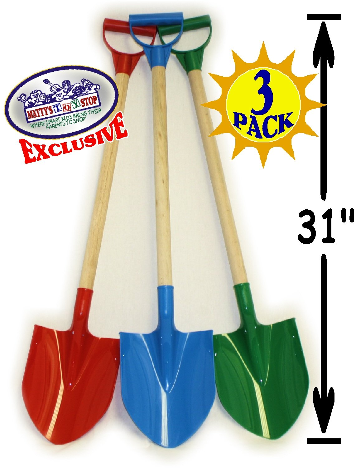 Matty's Toy Stop 31'' Heavy Duty Wooden Kids Sand Shovels with Plastic Spade & Handle (Red, Blue & Green) Complete Gift Set Bundle - 3 Pack