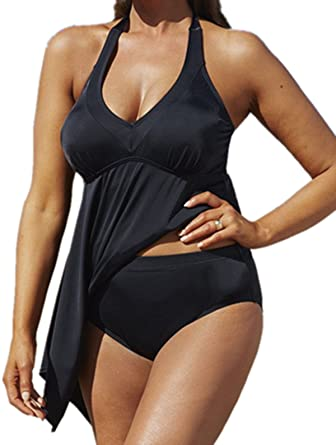 Beyond_AV@Women Two Piece Plus Size Swimwear Swimdress+Bottom